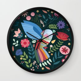 Folk Art Inspired Hummingbird With A Flurry Of Flowers Wall Clock