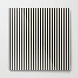 Thin golden black and white vintage art deco stripes Metal Print