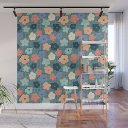 Peach and Aqua Flower Grid Wall Mural