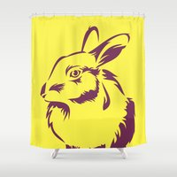 rabbit Shower Curtains featuring Rabbit by LaDa