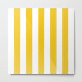 Deep lemon yellow - solid color - white vertical lines pattern Metal Print