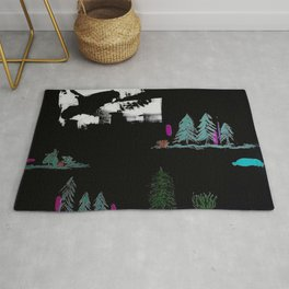 Through The Trees. Trees, Birds, Abstract, Black, White, Jodilynpaintings Rug
