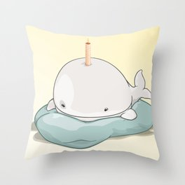 Sleepy BDay Whale Throw Pillow