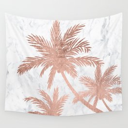 Tropical simple rose gold palm trees white marble Wall Tapestry