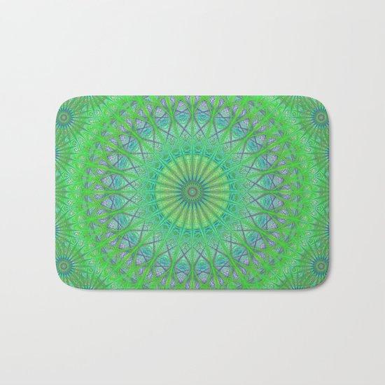 Green web mandala Bath Mat