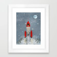 mr fox goes to the moon Framed Art Print