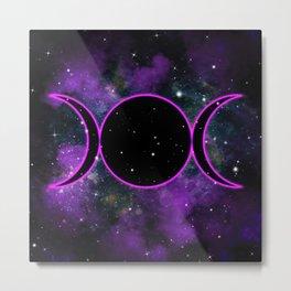 Purple Glow Triple Moon Goddess Metal Print