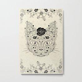 Sugar Kitty in Beige and Black Metal Print