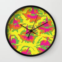 preppy Wall Clocks featuring Preppy Pineapple by Kristin Seymour