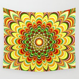 Colorful flower striped mandala Wall Tapestry
