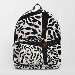 Black leaves on abstract background Backpack