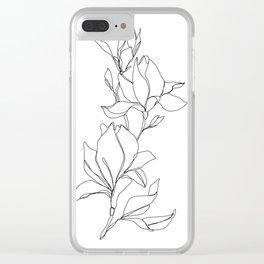 Botanical illustration line drawing - Magnolia Clear iPhone Case