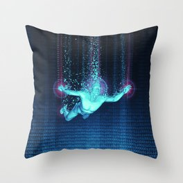 Virtual Reality Diver Throw Pillow