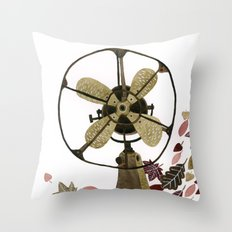 Still life with vintage fan and autumn leaves Throw Pillow