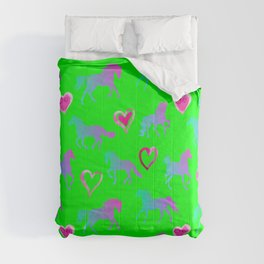 RAINBOW HORSES - Green backgtound  Comforters