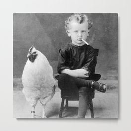 Smoking Boy with Chicken black and white photograph Metal Print