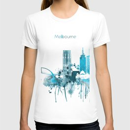 Melbourne Australia Monochrome Blue Skyline T-shirt