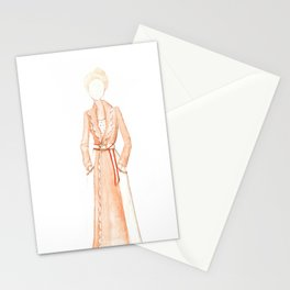 Scalloped Trench Girl Stationery Cards