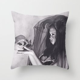 Realism Charcoal Drawing of Sexy Dark Queen in Veil with Skull Throw Pillow