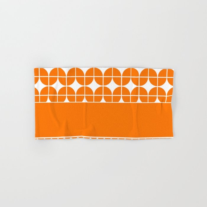 Decorative Bright Orange Multi Pattern Design Hand Bath Towel By - Orange patterned towels for small bathroom ideas