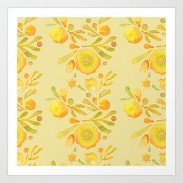 Granada Floral in Yellow Ochre on yellow Art Print