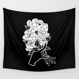 Peony Floral Bouquet Wall Tapestry