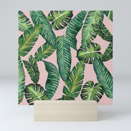 Jungle Leaves, Banana, Monstera II Pink #society6 Mini Art Print