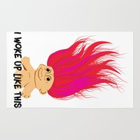 i woke up like this Area & Throw Rugs featuring I Woke Up Like This Troll by Rendra Sy