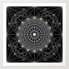 Geometric Circle Black/White/Colour Art Print