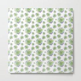 Succulent Watercolor Pattern Metal Print