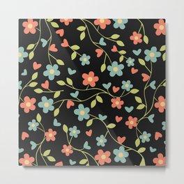 Elegant hand drawn floral pattern on black background Metal Print