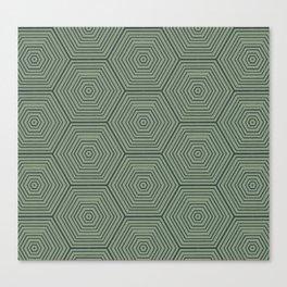 Army Green Hexagon Pattern Canvas Print
