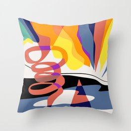 Abstract color falling Throw Pillow