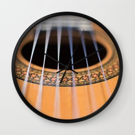 Strings of the guitar above the rose window Wall Clock