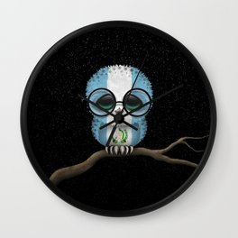 Baby Owl with Glasses and Guatemalan Flag Wall Clock