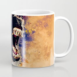 horse hilarious big mouth watercolor splatters late sunset Coffee Mug