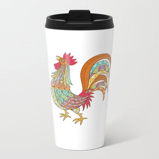 Beautiful hand-drawn ethnic rooster Metal Travel Mug