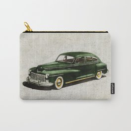 Retro car - American classics. Green antique automobile over hatched background. Carry-All Pouch