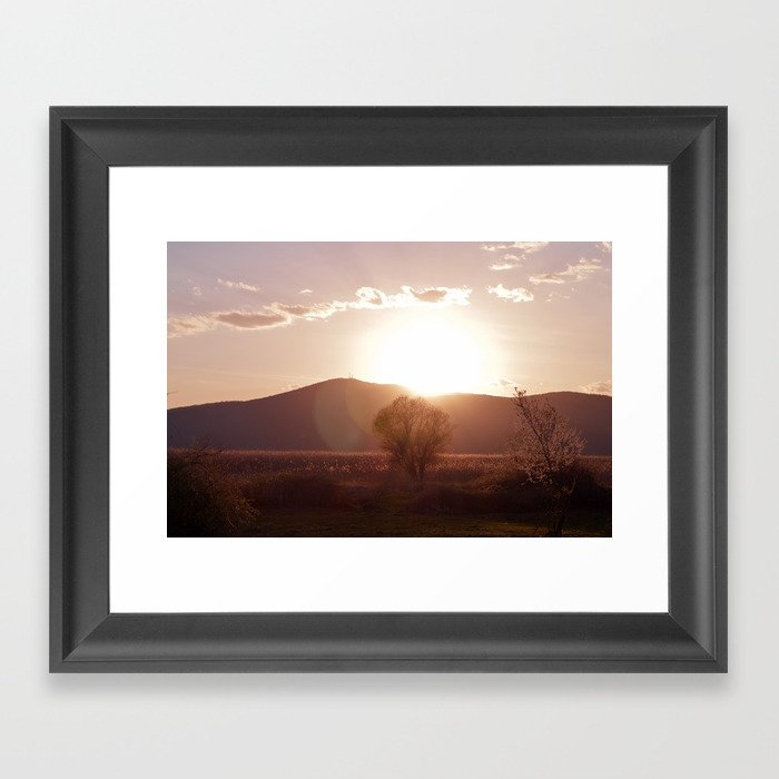 sunset in the meadow Framed Art Print