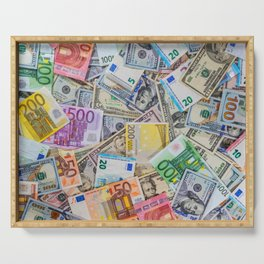 money texture. Euro and Dollars Serving Tray