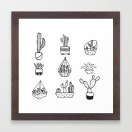 Minimalist Cacti Collection Black and White Framed Art Print