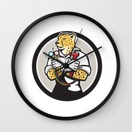 Cheetah Heating Specialist Circle Cartoon Wall Clock
