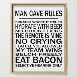 Man Cave Rules for Man Cave or Office Serving Tray