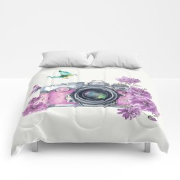 Camera with Summer Flowers 2 Comforters