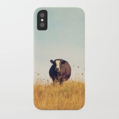 Moooo -- Autumn Landscape -- Cow in a Pasture Slim Case iPhone X