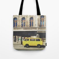 yellow submarine Tote Bags featuring Yellow submarine by monicamarcov