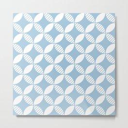 Mid Century Modern Geometric Flower Pattern Pale Blue 2 Metal Print