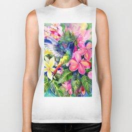 Hummingbird and Plumeria Florwers Tropical bright colored foliage floral Hawaiian Flowers Biker Tank
