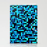 pixel Stationery Cards featuring Turquoise Blue Aqua Black Pixels by 2sweet4words Designs
