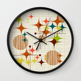 Starbursts and Globes 4 Wall Clock